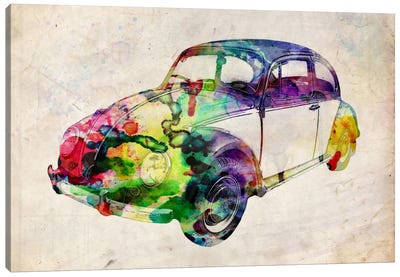 VW Beetle (Urban) by Michael Tompsett Canvas Wall Art