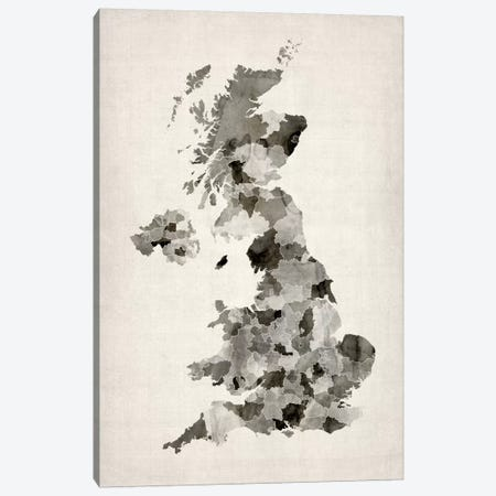 Great Britain Watercolor Map Canvas Print #8890} by Michael Tompsett Canvas Print