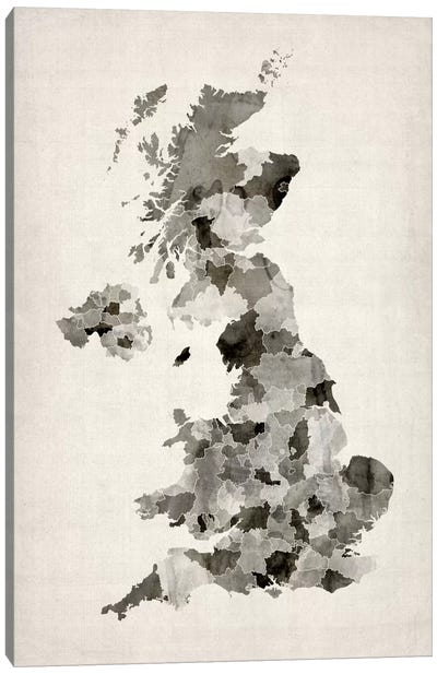 Great Britain Watercolor Map Canvas Print #8890
