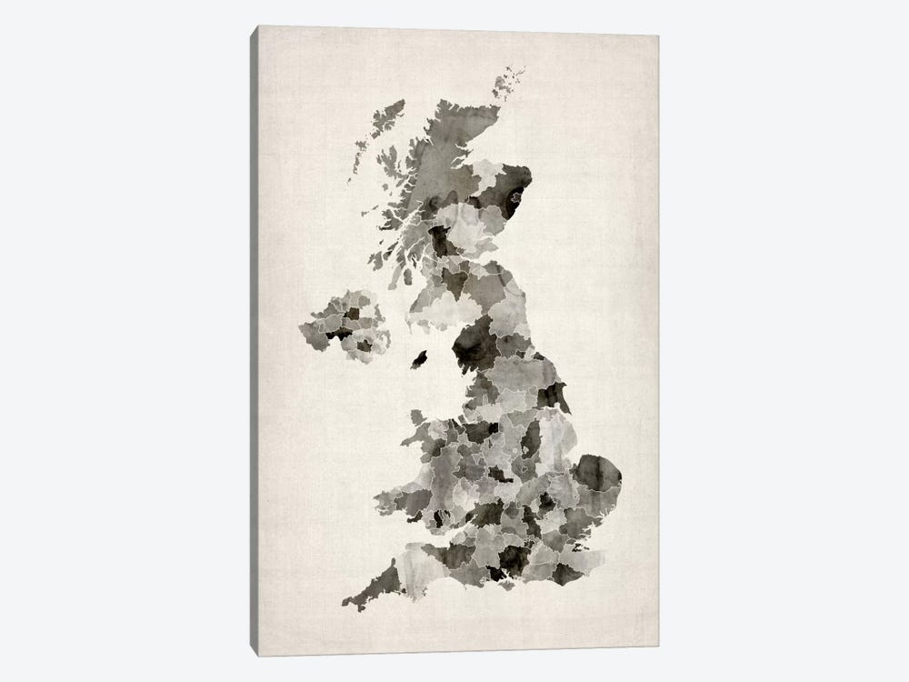Great Britain Watercolor Map by Michael Tompsett 1-piece Canvas Art Print