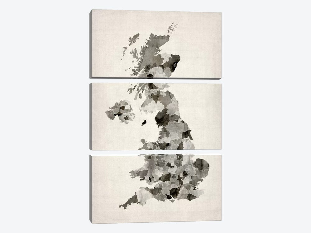 Great Britain Watercolor Map by Michael Tompsett 3-piece Canvas Print
