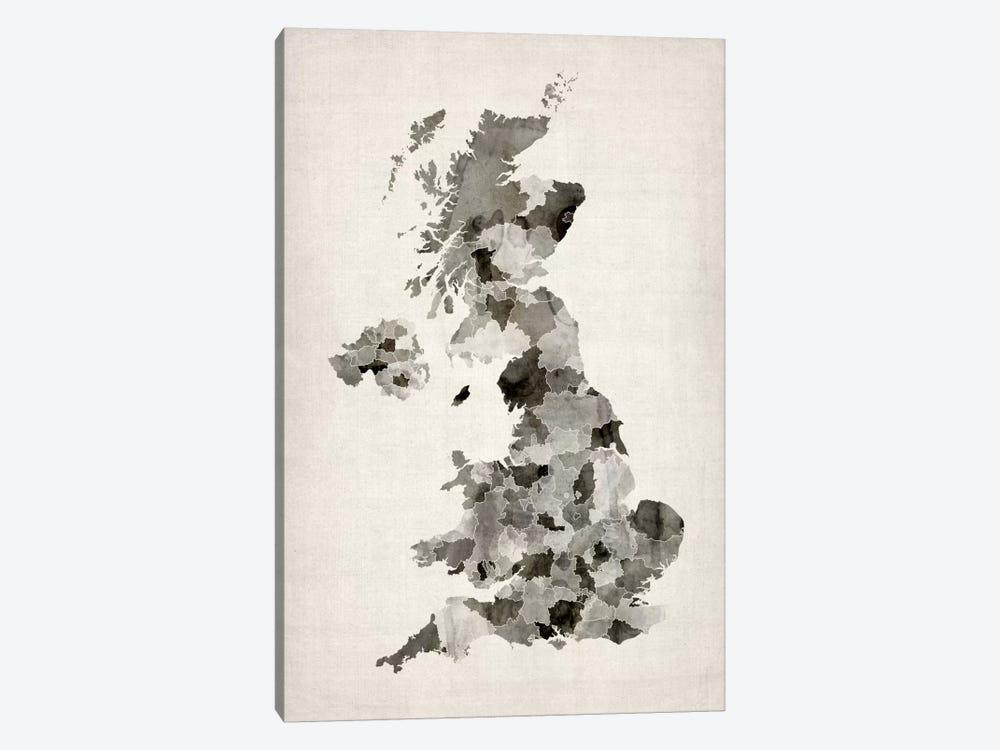 Great Britain Watercolor Map by Michael Tompsett 1-piece Canvas Art Print