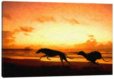Greyhounds on Beach at Sunset Canvas Art Print