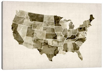 USA Water Color Map II Canvas Art Print