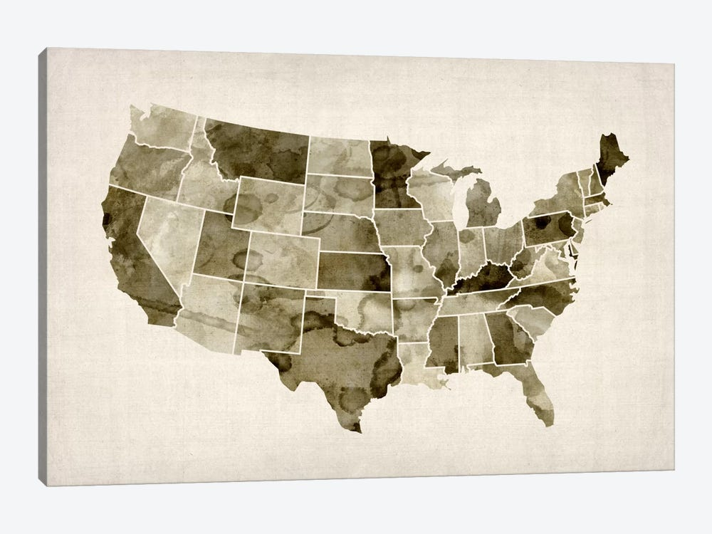 USA Water Color Map II by Michael Tompsett 1-piece Canvas Print