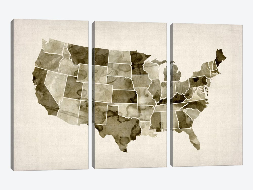 USA Water Color Map II by Michael Tompsett 3-piece Canvas Print
