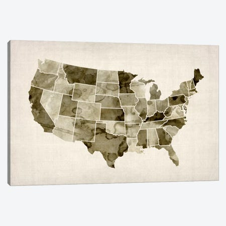 USA Water Color Map II Canvas Print #8892} by Michael Tompsett Art Print