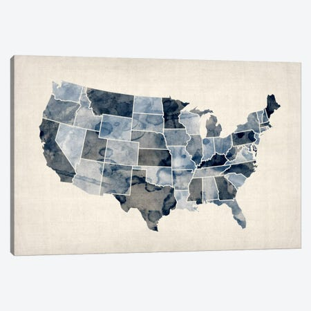 USA Water Color Map III Canvas Print #8893} by Michael Tompsett Art Print