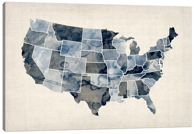 USA Water Color Map III Canvas Print #8893