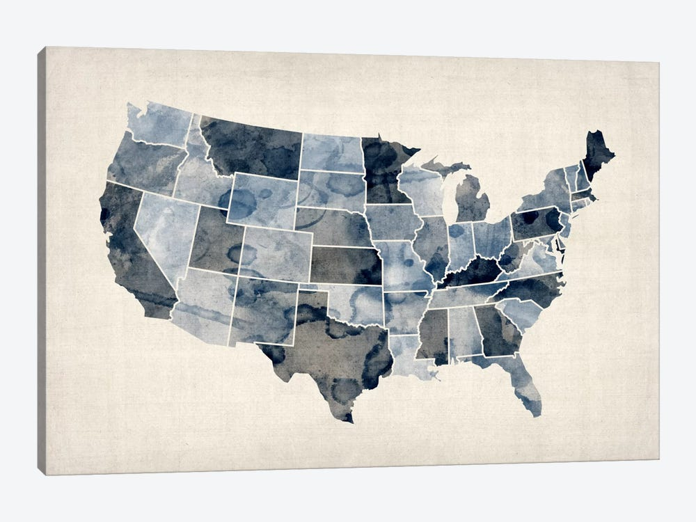 USA Water Color Map III by Michael Tompsett 1-piece Canvas Art