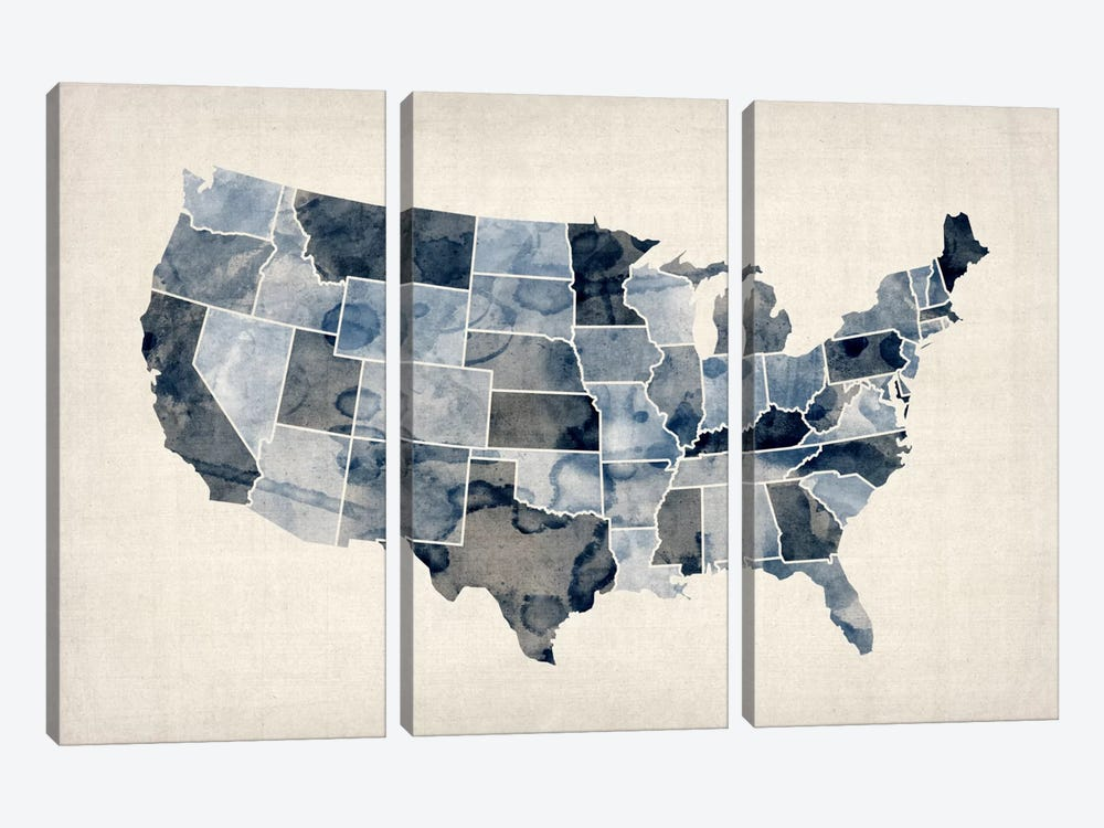 USA Water Color Map III by Michael Tompsett 3-piece Canvas Artwork
