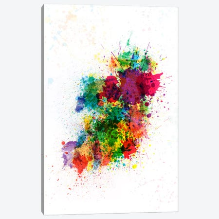 Ireland Map Paint Splashes Canvas Print #8894} by Michael Tompsett Canvas Artwork