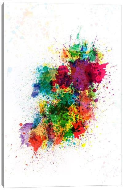 Ireland Map Paint Splashes Canvas Art Print