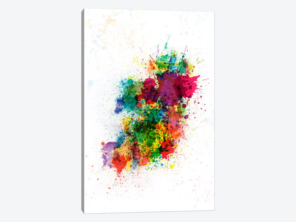 Ireland Map Paint Splashes by Michael Tompsett 1-piece Art Print