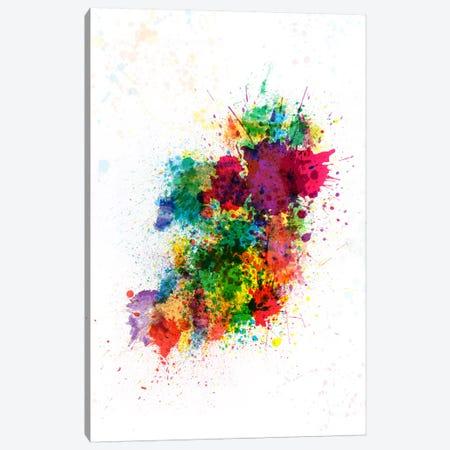 Ireland Map Paint Splashes Canvas Print #8894} by Michael Tompsett Canvas Artwork