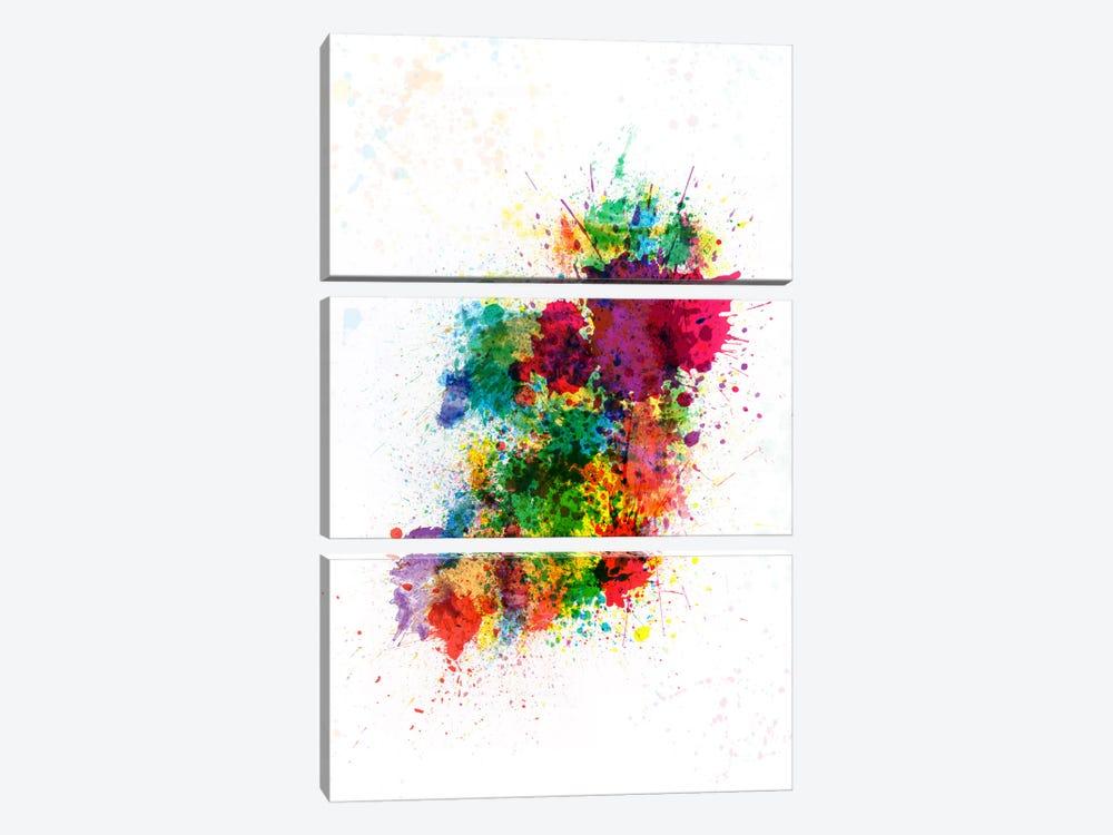Ireland Map Paint Splashes by Michael Tompsett 3-piece Canvas Art Print