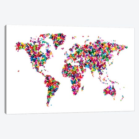 Butterflies World Map Canvas Print #8895} by Michael Tompsett Canvas Art