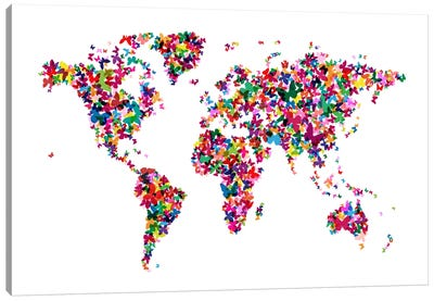 Butterflies World Map Canvas Print #8895