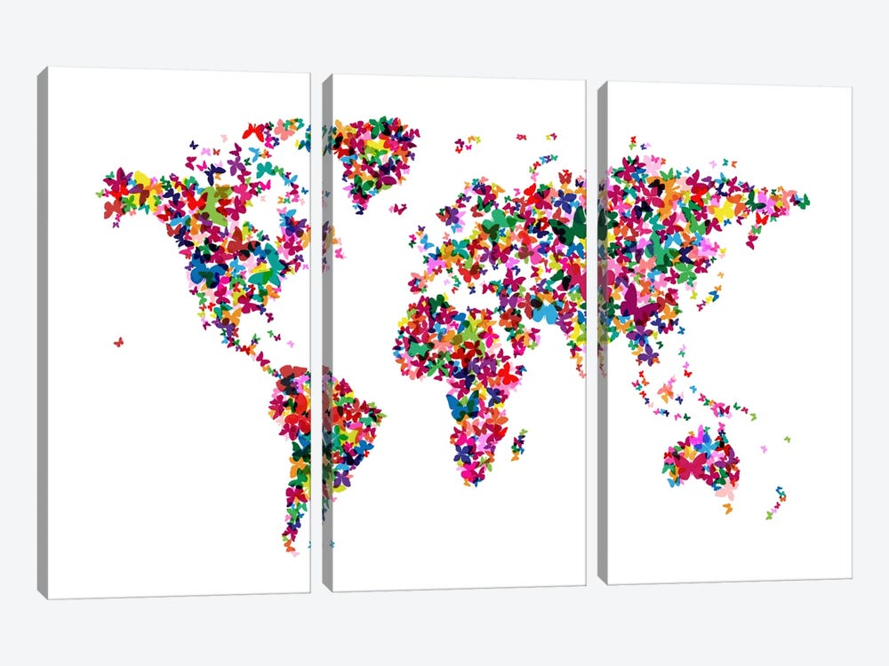 Butterflies World Map by Michael Tompsett 3-piece Canvas Artwork