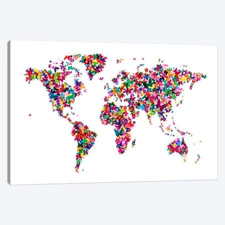 Butterflies World Map Canvas Print #8895} by Michael Tompsett Canvas Art
