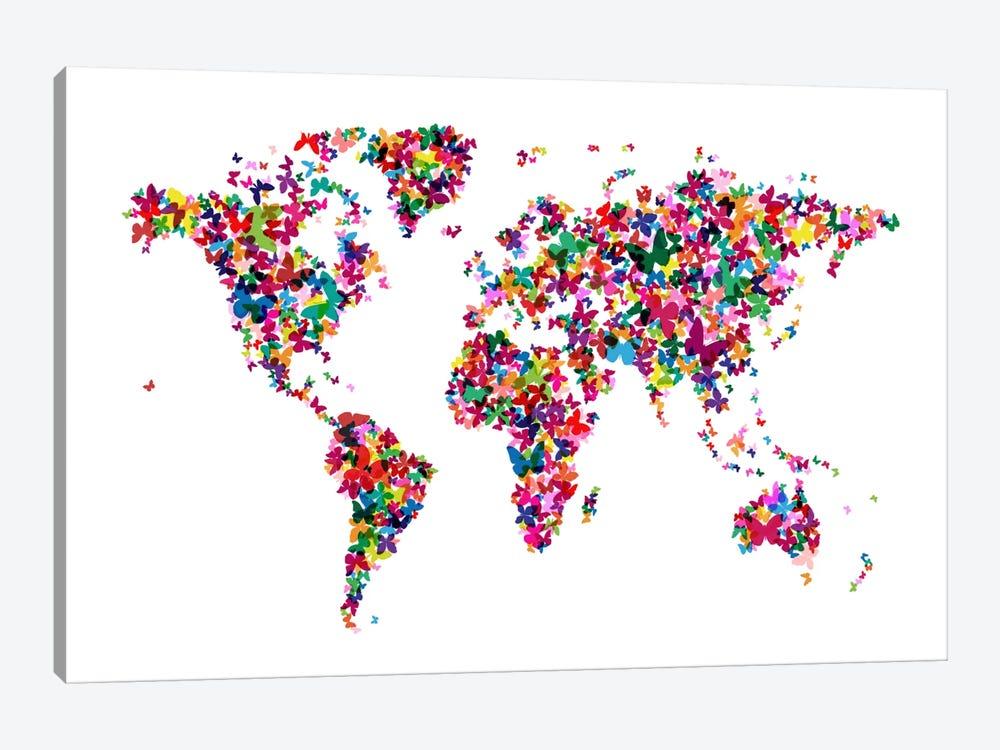 Butterflies World Map by Michael Tompsett 1-piece Canvas Artwork