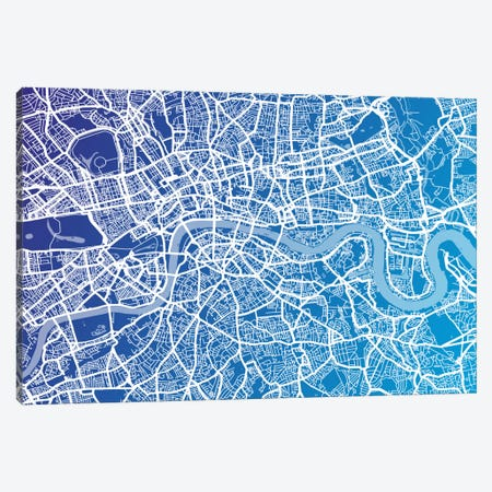 London Street Map (Blue II) Canvas Print #8896} by Michael Tompsett Canvas Artwork