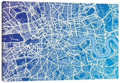 London Street Map (Blue II) Canvas Art Print