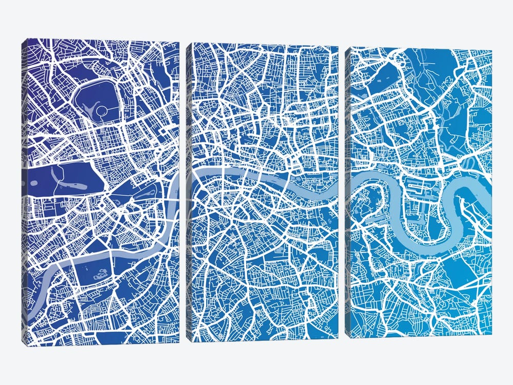 London Street Map (Blue II) by Michael Tompsett 3-piece Canvas Art Print