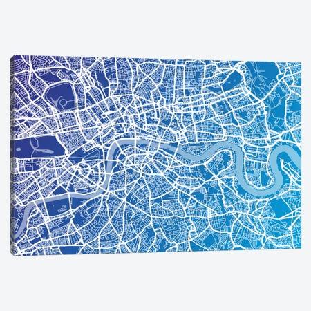 London Street Map (Blue II) Canvas Print #8896} by Michael Tompsett Canvas Artwork