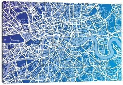London Street Map (Blue II) Canvas Art Print
