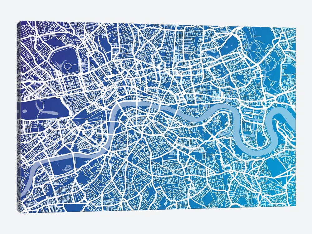 London Street Map (Blue II) by Michael Tompsett 1-piece Canvas Print