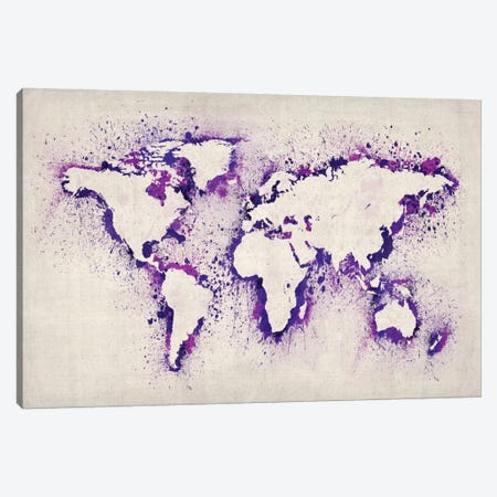 Map of The World (Purple) Paint Splashes Canvas Print #8897} by Michael Tompsett Canvas Art