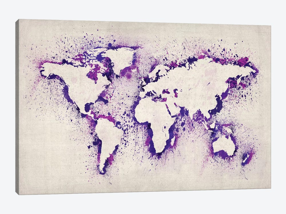 Map of The World (Purple) Paint Splashes by Michael Tompsett 1-piece Canvas Artwork