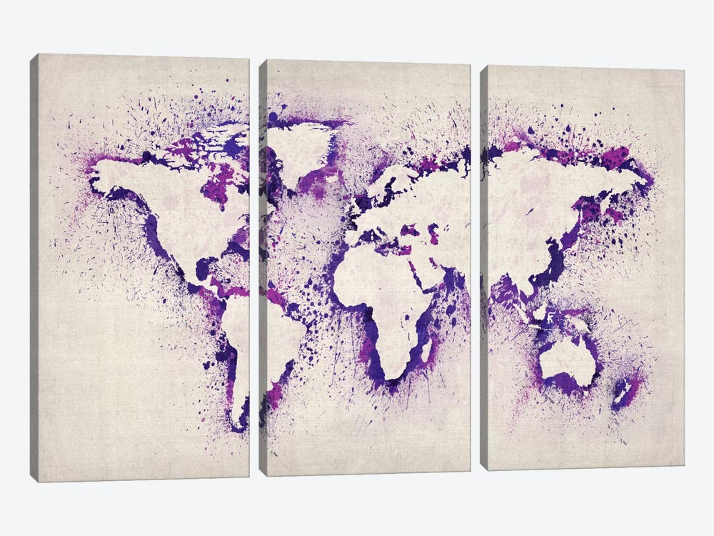 Map of The World (Purple) Paint Splashes by Michael Tompsett 3-piece Canvas Artwork