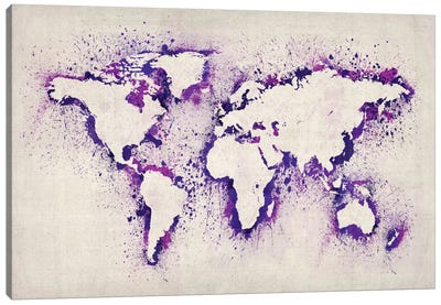 Map of The World (Purple) Paint Splashes Canvas Art Print