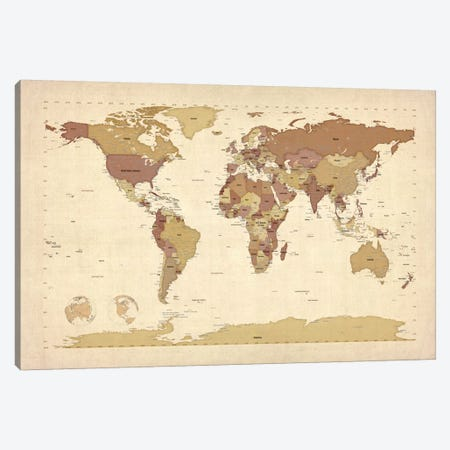 Map of The World V Canvas Print #8898} by Michael Tompsett Canvas Print