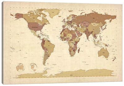 Map of The World V Canvas Art Print