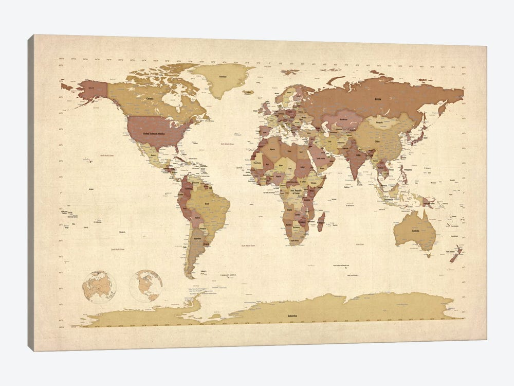 Map of The World V by Michael Tompsett 1-piece Canvas Art Print