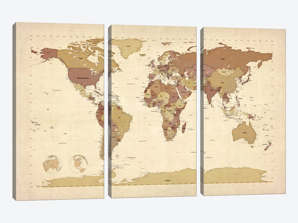Map of The World V by Michael Tompsett 3-piece Canvas Art Print