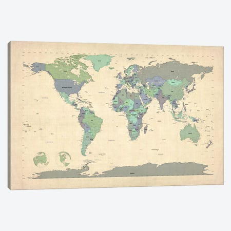 Map of The World VI Canvas Print #8899} by Michael Tompsett Art Print
