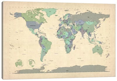 Map of The World VI Canvas Print #8899