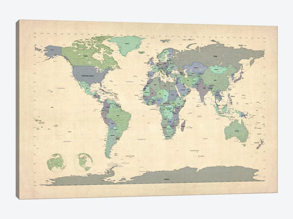Map of The World VI by Michael Tompsett 1-piece Canvas Art
