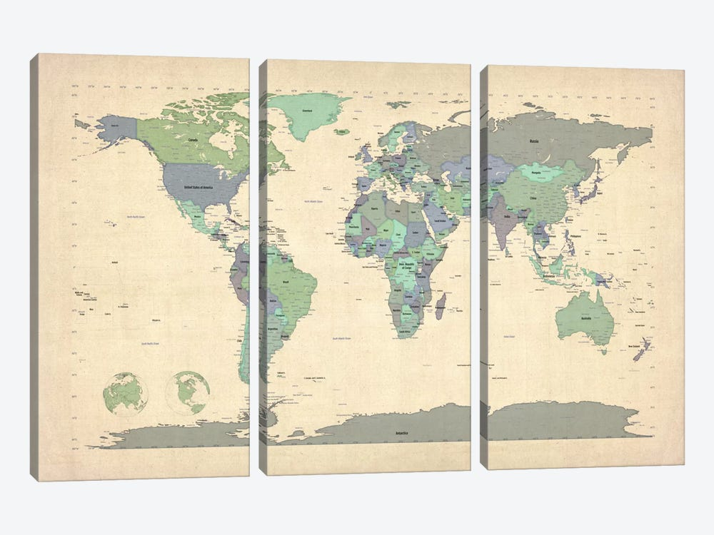 Map of The World VI by Michael Tompsett 3-piece Canvas Art