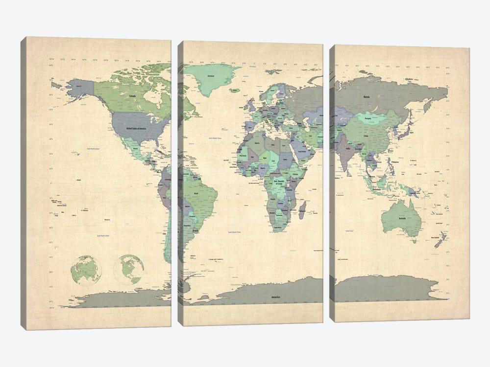 Map of The World VI by Michael Tompsett 3-piece Canvas Art