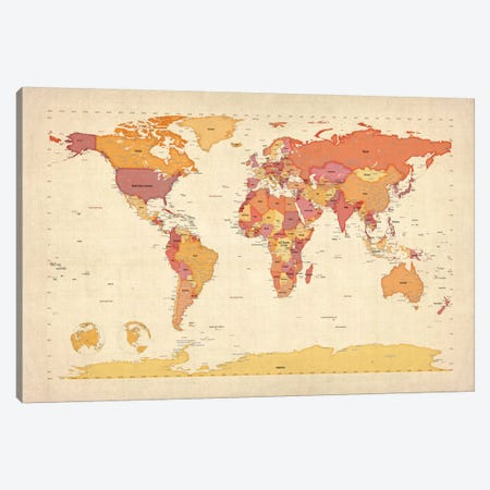 Map of The World VII Canvas Print #8900} by Michael Tompsett Art Print