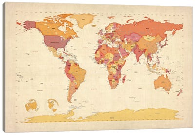 Map of The World VII Canvas Print #8900