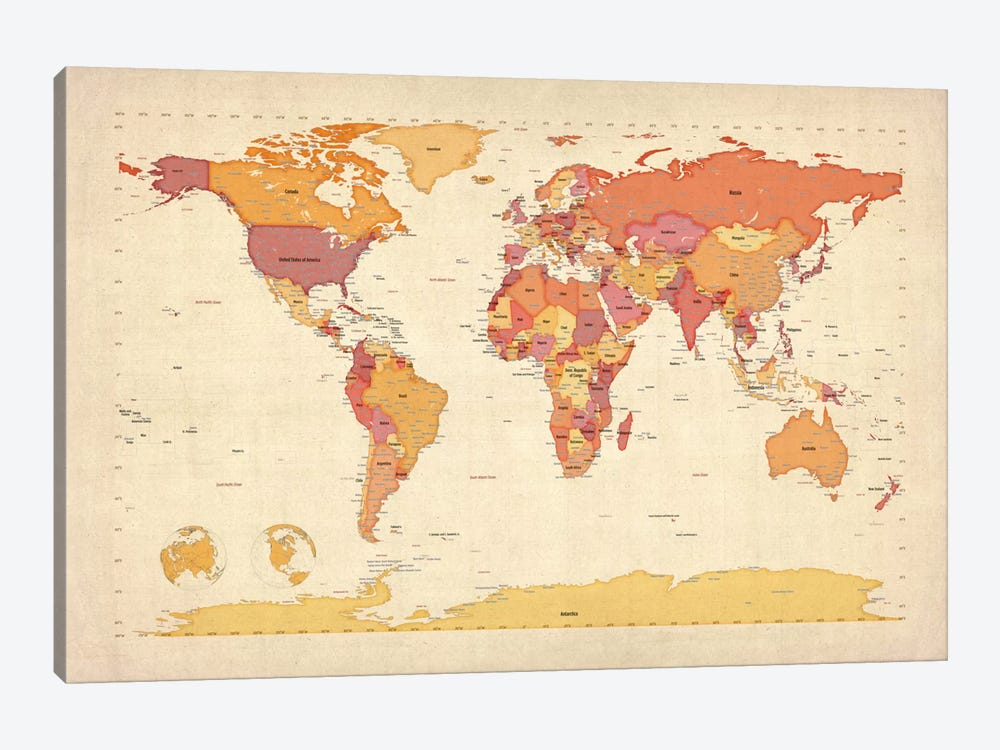 Map of The World VII by Michael Tompsett 1-piece Canvas Print