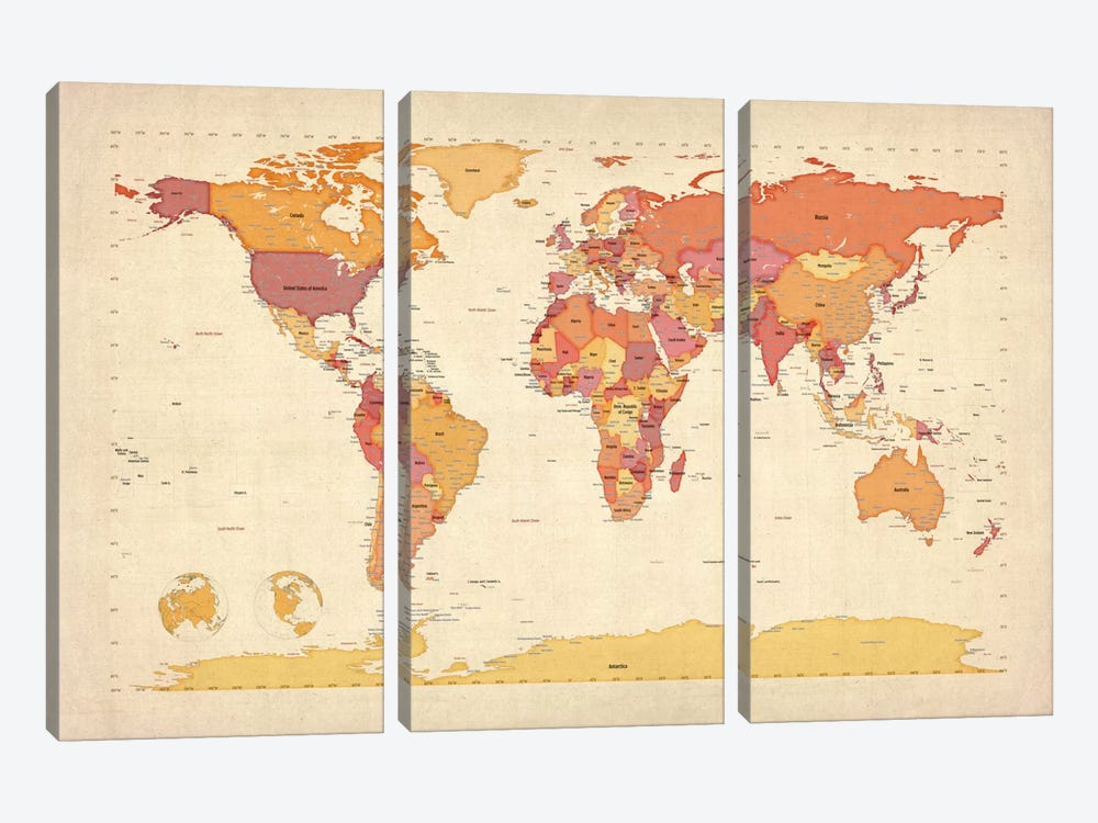 Map of The World VII by Michael Tompsett 3-piece Canvas Print