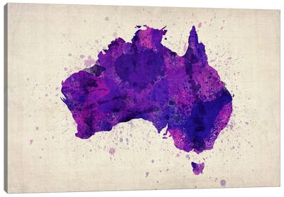 Map of Australia (Purple) Paint Splashes Canvas Art Print