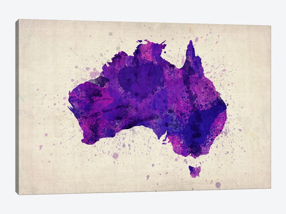 Map of Australia (Purple) Paint Splashes by Michael Tompsett 1-piece Canvas Artwork